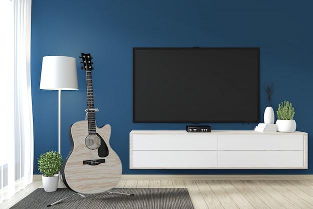 Тв шкаф в дзэн современной пустой комнате янапезе минимальный дизайн, 3d-рендеринг