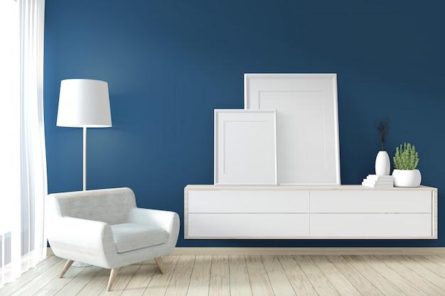 Рамка в стиле дзен на современной синей комнате и отделке. 3d рендеринг