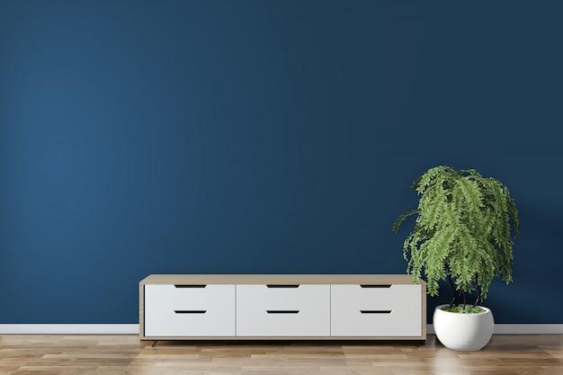 キャビネットフロア木製ミニマルなデザインの部屋に濃い青でモックアップします。 3dレンダリング