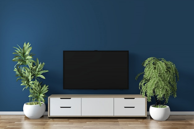 Кабинет макет на комнате темно-синий на полу деревянный минимальный дизайн. 3d рендеринг