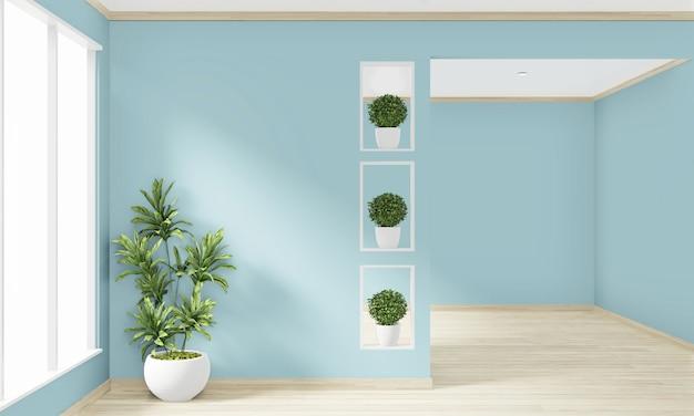 床の木製インテリアデザインの空の部屋のミントの壁をモックアップします。 3dレンダリング