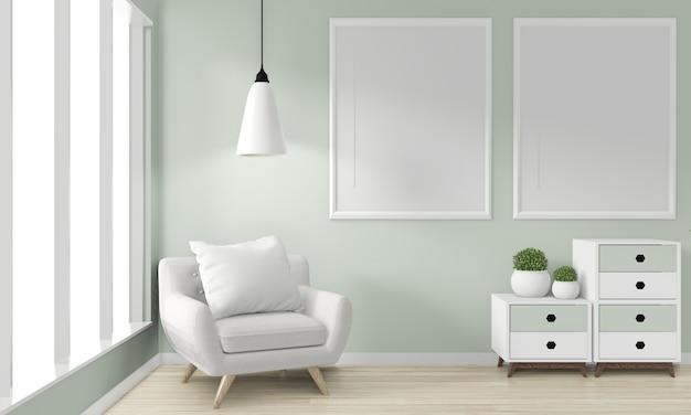 モックアップポスターキャビネット木製日本デザインのアイデアと。アームチェア3dレンダリング