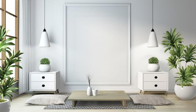 木製の床の部屋の白い壁にランプ、フレーム、黒い低いテーブルと日本のリビングルームのアイデア。 3dレンダリング