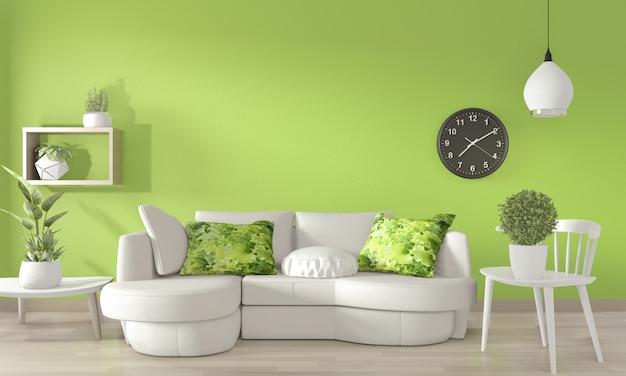 薄緑色の壁と木製の床に白いソファと装飾植物。3dレンダリング
