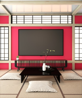 Тв-комната, шикарный телевизор на красной стене, дзен-комната, очень японский стиль и татами на полу. 3d рендеринг