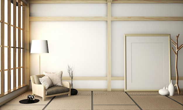 Рамка плаката на комнате очень дзен с креслом на полу татами. 3d рендеринг