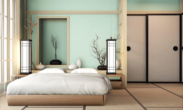 旅館の水色のベッドルームは、畳の床と装飾が施された非常に和風です。 3dレンダリング