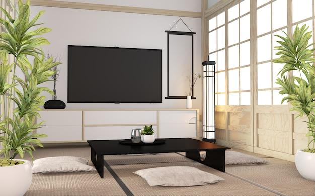 Шкаф деревянный минимальный по комнате японский стиль. 3d рендеринг