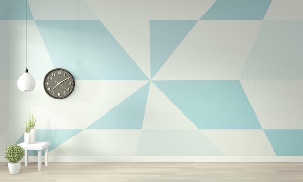 明るい青と白のリビングルームのアイデア幾何学的な壁アートペイント色の木製の床にフルスタイル。 3dレンダリング