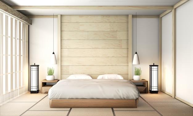 Интерьер спальни дзен с татами на полу и деревянной стеной. 3d рендеринг