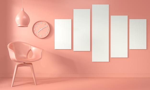 Рама для постера и кресло, светильник для гостиной, интерьер в стиле кораллов. 3d рендеринг