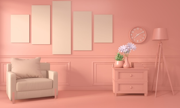 Кресло и отделка интерьера комнаты окрашены в живой коралловый стиль. 3d рендеринг