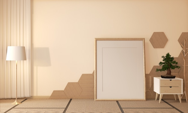 Японский рёкан, стиль дзен в гостиной с шестигранной плиткой на полу и татами, декор в японском стиле, 3d-рендеринг