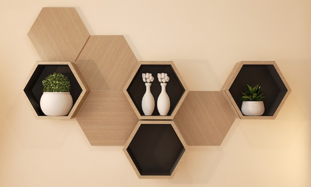 Дизайн деревянной полки шестиугольника японский на стене, переводе 3d
