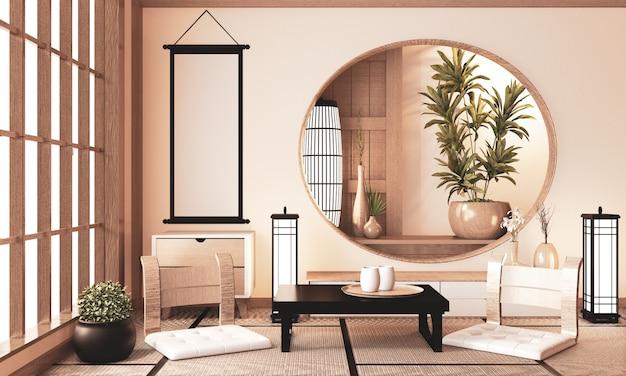 Рёкан очень дзен комната с настенной деревянной полкой и татами, комната земля тона. 3d рендеринг