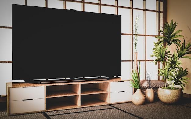 Старый стиль, умный телевизор на деревянном шкафу в комнате в японском стиле на полу татами мат.3d рендеринг