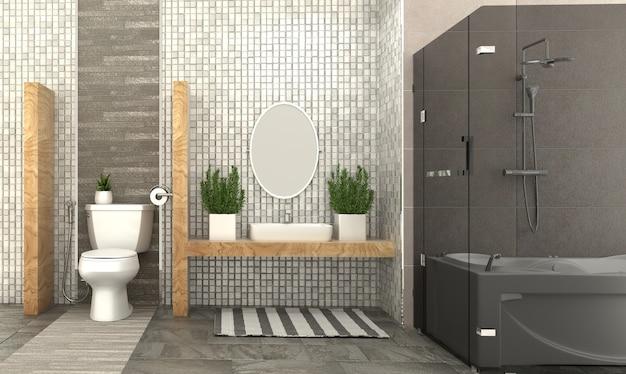 バスルームのインテリア。 3dレンダリング