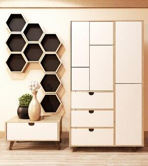 部屋の最小限の.3dレンダリングの壁にキャビネットの木と六角形の棚