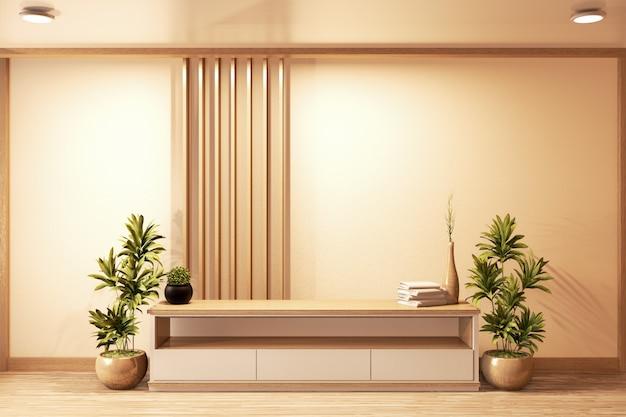 Шкаф деревянный японский стиль на гостиной минимальная белая стена. 3d-рендеринг