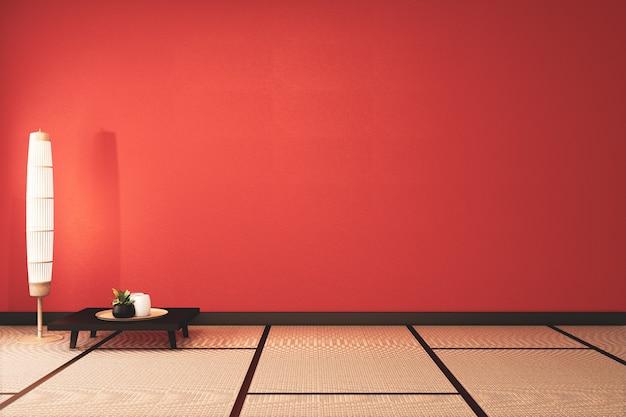 装飾と畳の床と緑豊かな溶岩空の部屋。3dレンダリング