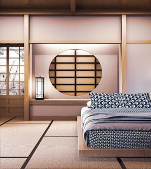 寝室和風の円窓日本壁デザイン。3dレンダリング