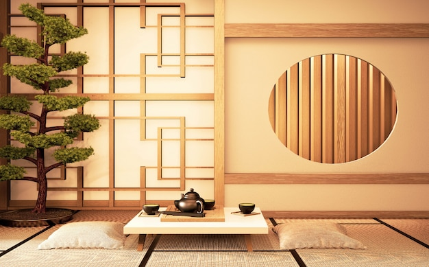 部屋日本と畳のサークルウィンドウ木製デザインアイデアと中国のインテリア。 3dレンダリング