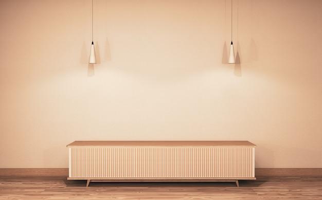 Интерьер комнаты китайского стиля деревянный с деревянным полом на стене пустой. 3d рендеринг