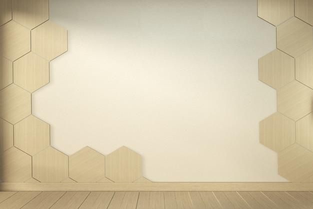 木製の床のインテリアデザインの空の白い部屋に六角形のタイル壁。 3dレンダリング