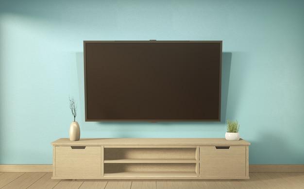 Телевизионная полка в мятном номере в современном тропическом стиле - интерьер пустой комнаты - минималистичный дизайн. 3d-рендеринг