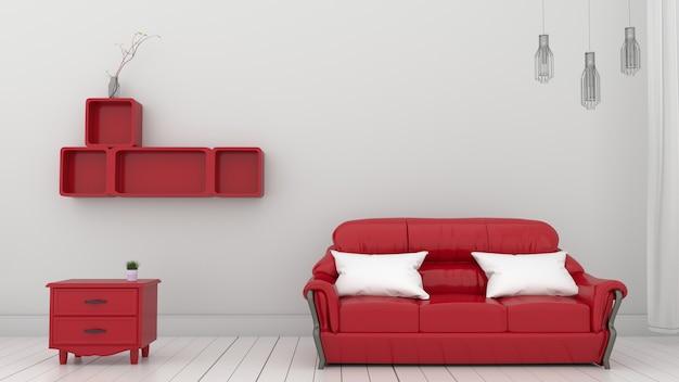 白い壁の赤い棚。 3dレンダリング