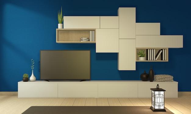 Тв шкаф в современной пустой синей комнате в японском стиле дзен, минималистичный дизайн. 3d рендеринг