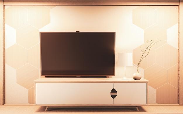 壁と木製キャビネットの六角形タイル、黒い画面で編集する準備ができているテレビ。 3dレンダリング