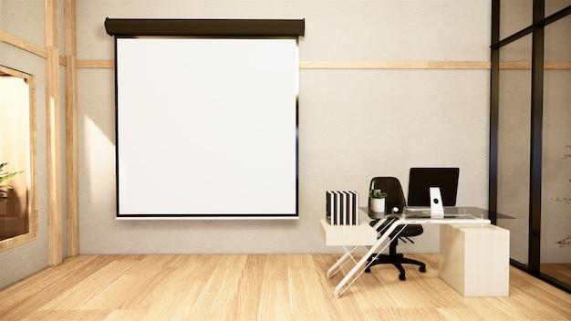 Офисный бизнес - красивый японский зал для переговоров и конференц-стол, современный стиль. 3d рендеринг