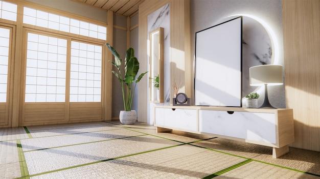 リビングの御影石の白い壁の装飾日本スタイルのデザインと棚の壁。 3dレンダリング