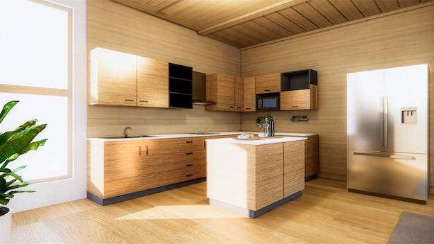 和室キッチンルーム。 3dレンダリング