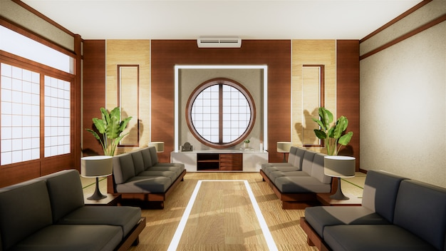 Офисный бизнес - красивый японский зал для переговоров и стол для переговоров, современный стиль. 3d рендеринг