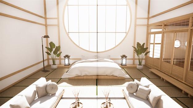 多機能ルームのアイデア、和室のインテリアデザイン。 3dレンダリング
