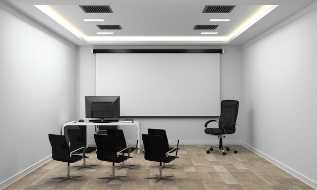 Бизнес-салон со стульями и растениями и деревянный пол на белой стене пустой. 3d-рендеринг