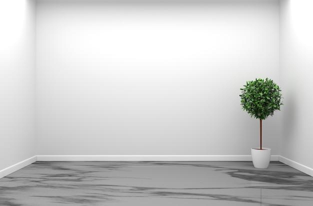 花崗岩の部屋のインテリア - 自然石の花崗岩床の空の部屋3dレンダリング