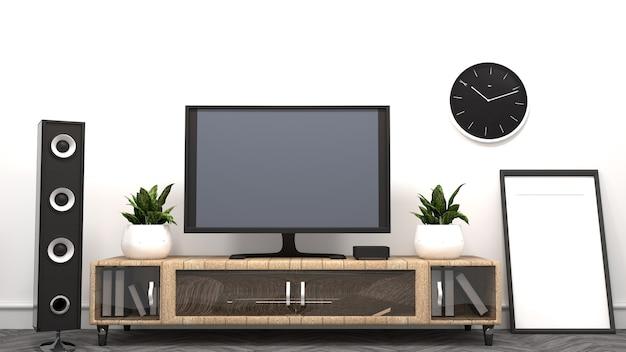 テレビ - リビングルーム - 空の部屋のモダンなスタイル。 3dレンダリング