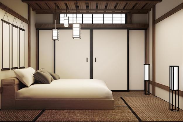 日本の寝室。 3dレンダリング