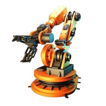 白い背景にロボットアーム。 3dレンダリング