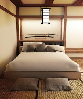 日本のベッドルームインテリアにはランプカタナの剣と枕があります。 3dレンダリング