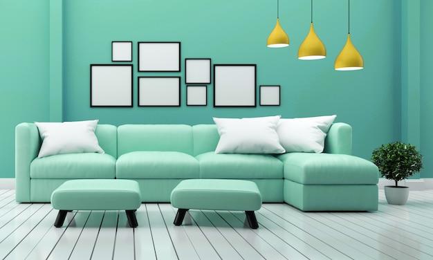 ソファの植物とミントの壁の背景にランプとリビングルームのインテリア。 3dレンダリング