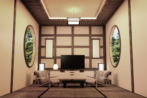和室インテリアデザイン - スマートテレビ。 3dレンダリング