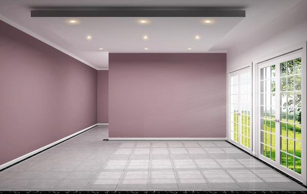 空の部屋にはタイルデザインの3dレンダリングでピンクの壁があります