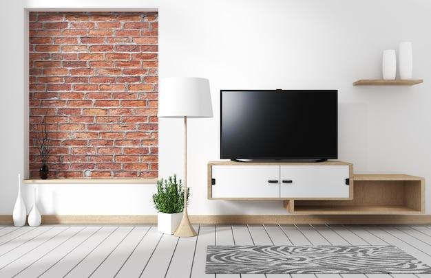 木製のキャビネットとワイドテレビのロフトスタイルのリビングルームインテリア。 3dレンダリング