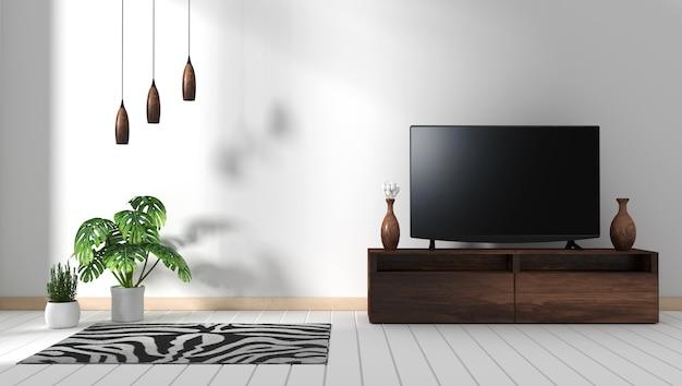木製のキャビネットのインテリア、モダンなリビングルームの禅スタイルでスマートテレビモックアップ。 3dレンダリング