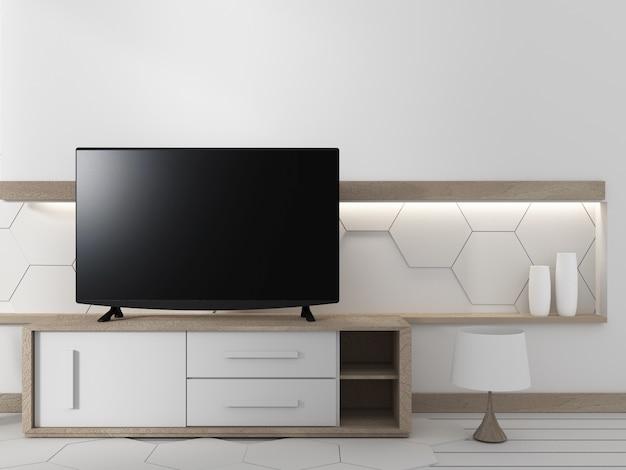 六角形の壁のデザインの背景に植物とリビングルームのキャビネット上のスマートテレビ、3d