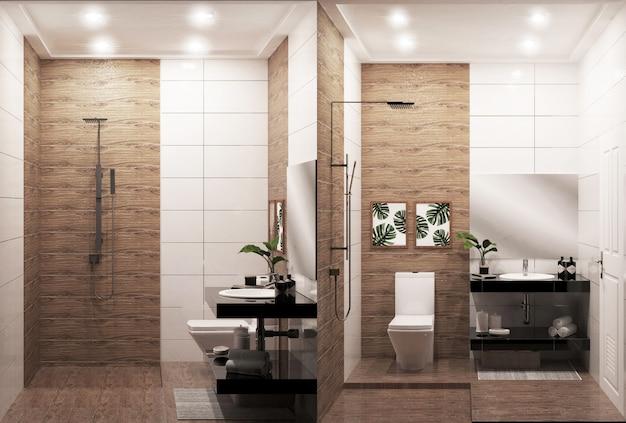 禅のデザインバスルームの木の壁と床 - 日本のスタイル。 3dレンダリング